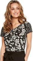 M&Co V neck floral print top