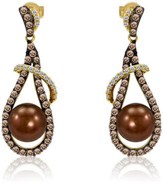LeVian Le Vian 14K Honey Gold 1.44 Ct. Tw. Diamond 8-9Mm Pearl Earrings