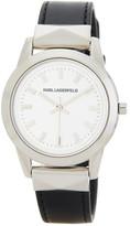 Karl Lagerfeld Women&s Labelle Stud Leather Strap Watch