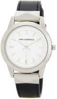 Karl Lagerfeld Women's Labelle Stud Leather Strap Watch