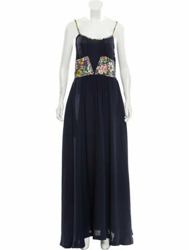 Band Of Outsiders Silk Maxi Dress Navy