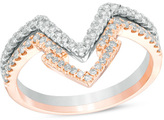 Zales 3/8 CT. T.W. Diamond Geometric Point Two Piece Stackable Band Set in 14K Two-Tone Gold