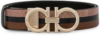 Salvatore Ferragamo double Gancini buckle striped belt