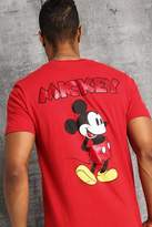 BoohoomanBoohooMAN Mens Red Disney Front And Back Print Mickey T-Shirt, Red