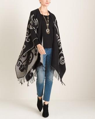 Chico's Chicos Black and White Swirled Jacquard Blanket Ruana Wrap