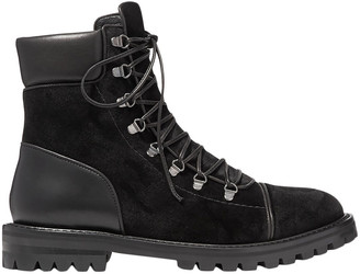 Alaia Velvet And Leather Combat Boots