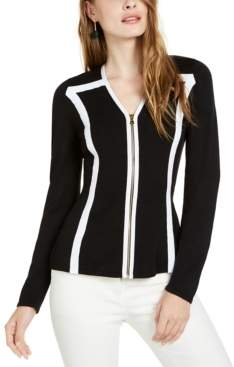 INC International Concepts Inc Colorblocked-Trim Zip Cardigan Sweater, Created for Macy's