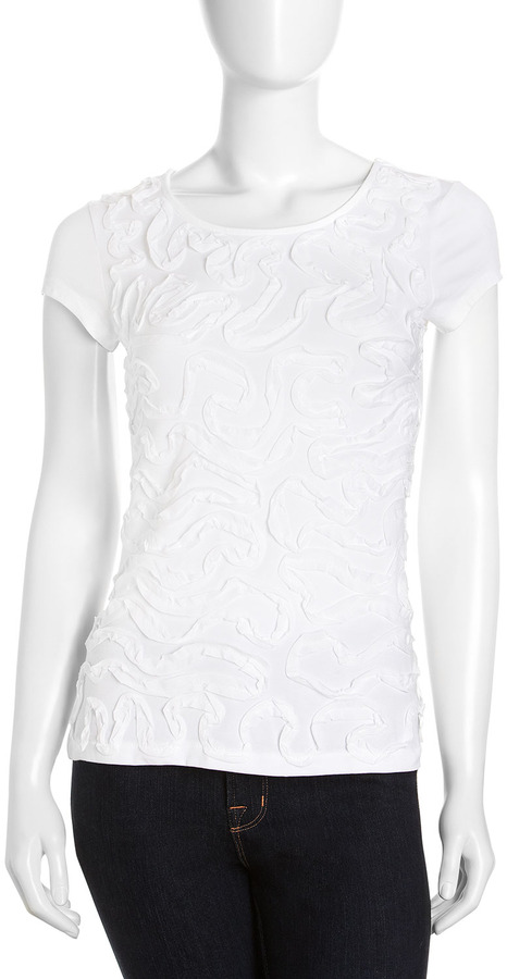 Neiman Marcus Cap-Sleeve Ribbon Blouse, White
