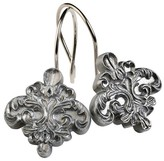 India Ink Alexa Resin Brushed Silver Traditional Shower Curtain Hooks - Spa Blue/Silver