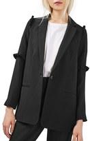 Topshop Women's Textured Ruffle Blazer
