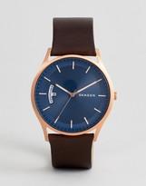 Skagen Skw6395 Holst Leather Watch In Tan