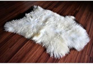 "Broaddus Animal Print Handmade 2'1"" x 3'2"" Sheepskin Cream/Brown Indoor / Outdoor Area Rug Millwood Pines"