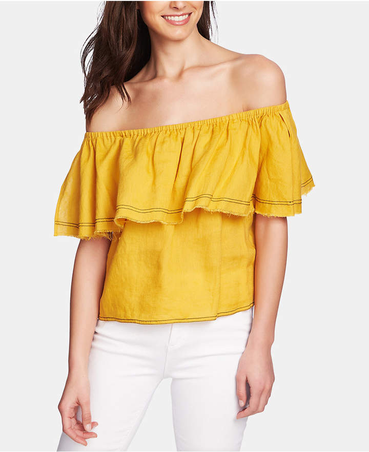 25caaeab2565dd Gold Off The Shoulder Top - ShopStyle