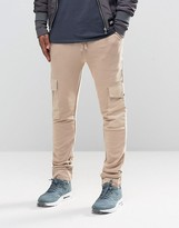 Asos Skinny Joggers With Cargo Pockets In Stone