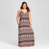 Xhilaration Women's Plus Size Whipstitch Maxi Dress Multi Geo Print