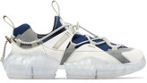 Jimmy Choo DIAMOND TRAIL/M White Stretch Mesh Diamond Trail Trainers with Rock Leather Detailing