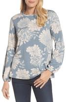 Bobeau Women's Floral Print Balloon Sleeve Sweatshirt