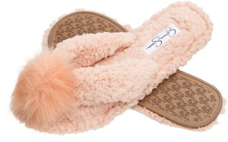 Jessica Simpson Women's Fluffy Pom Pom Thong House Slide On Slippers with Memory Foam