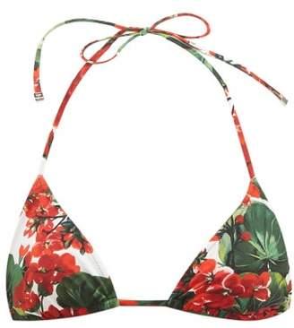 Dolce & Gabbana Portofino Floral-print Bikini Top - Womens - Red Print