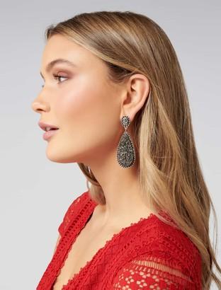 Forever New Aliya Diamante and Druzy Earrings - Gunmetal - 00
