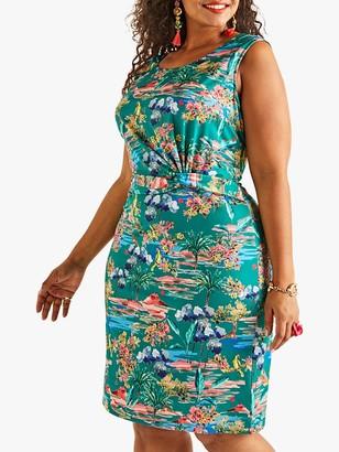 Yumi Curves Floral Print Jersey Dress, Green