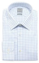 Ike Behar Check-Windowpane Woven Dress Shirt, White/Blue