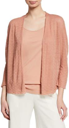 Eileen Fisher Open-Front Blouson-Sleeve Linen-Crepe Cardigan