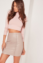 Missguided Whipstitch Front Faux Leather Mini Skirt Grey