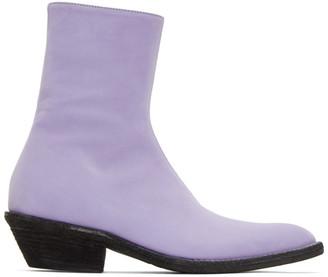 Haider Ackermann Purple Suede Evening Boots