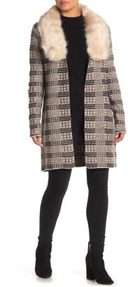Love Token Faux Fur Trim Printed Cardigan Sweater Coat