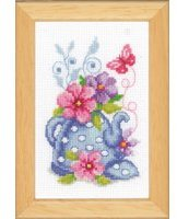 Vervaco PN-0143920 | Blue Tea Pot & Flowers Picture Counted Cross Stitch Kit