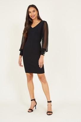 Yumi Black Knitted Bodycon Dress