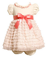 Bonnie Jean Baby Girls' Ivory/Coral Ruffle Tiered Dress