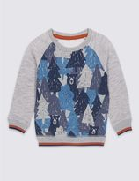 Marks and Spencer Cotton Rich Printed Sweatshirt (3 Months - 5 Years)