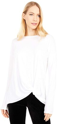 bobi Los Angeles Lightweight Jersey Long Sleeve Tuck Tee (White) Women's Clothing