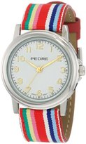 Pedre Women's 0231SX Silver-Tone/ Red Stripe Grosgrain Strap Watch