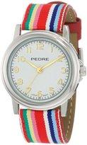 Pedre Women's 0231SX Silver-Tone/ Red Stripe Grosgrain Strap Watch