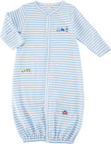 Kissy Kissy Little Railroad Striped Convertible Pima Gown, Size Newborn-S