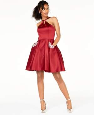 Blondie Nites Juniors' Keyhole Fit & Flare Dress
