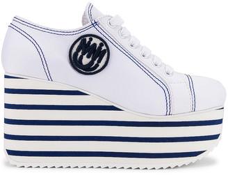 Miu Miu Platform Sneakers in Bianco & Bluette | FWRD