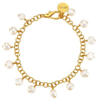 Nest 22K Goldplated & 9MM Baroque Pearl Charm Anklet