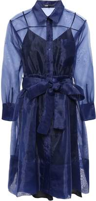Maje Belted Organza Mini Shirt Dress