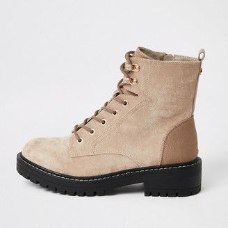 River Island Brown lace-up wide fit chunky ankle boots