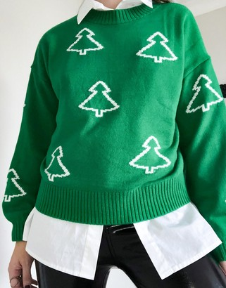 ASOS DESIGN Christmas sweater with trees in green