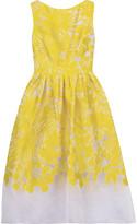 Lela Rose Pleated devor&eacute satin-twill midi dress