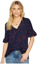 Lucky Brand Lace Sleeve Trim Top Women's Clothing