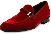 Salvatore Ferragamo Velvet Slip-On Loafer, Red