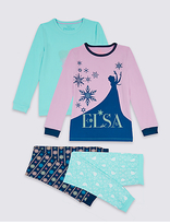 Marks and Spencer 2 Pack Disney FrozenTM Cotton Pyjamas with Stretch (2-10 Years)