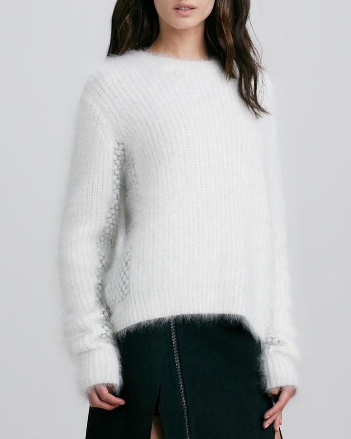 3.1 Phillip Lim Cropped Wool-Angora Fuzzy Mix-Stitch Sweater