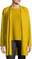Eileen Fisher Boiled Wool Jersey Long Jacket, Plus Size